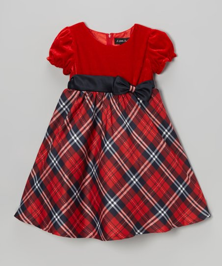 Red & Navy Plaid Puff-Sleeve Dress - Infant, Toddler & Girls