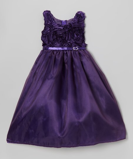 Purple Rosette Swirl Dress - Toddler & Girls