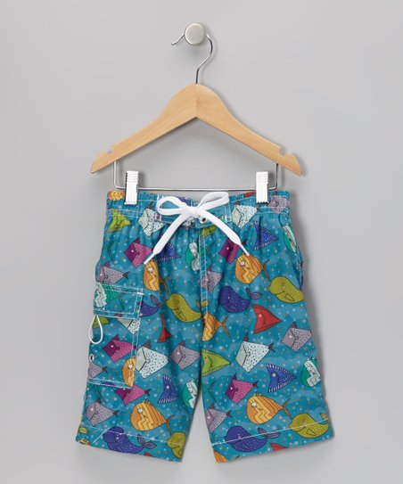 Teal Happy Fish Boardshorts - Infant & Boys