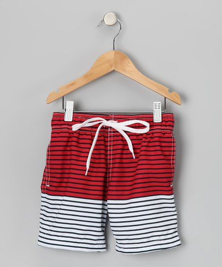 Red Stripe Horizon Swim Trunks - Toddler & Boys