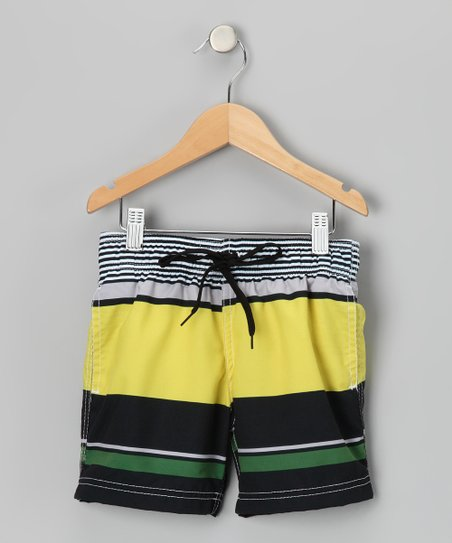Yellow & Black Block Party Swim Trunks - Boys