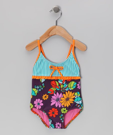 Orange & Purple Paradise One-Piece - Infant, Toddler & Girls