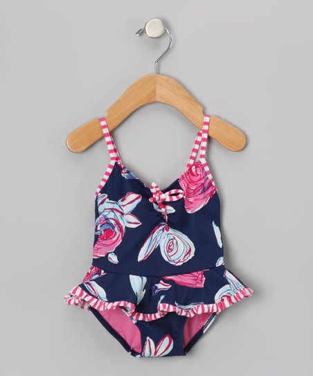 Navy & Pink Bloom Skirted One-Piece - Infant, Toddler & Girls