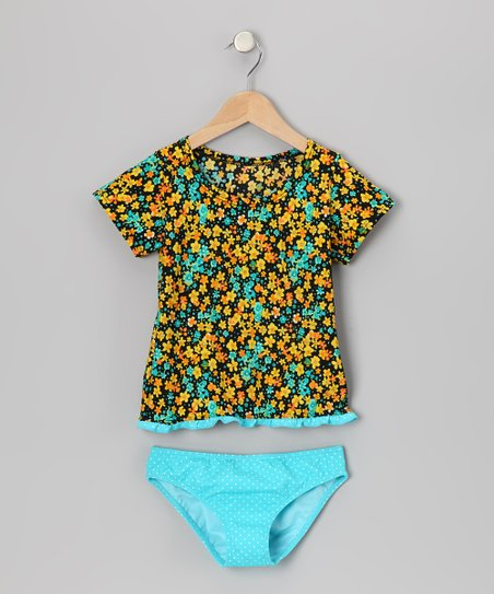 Turquoise &amp; Yellow Prairie Rashguard Set - Toddler &amp; Girls