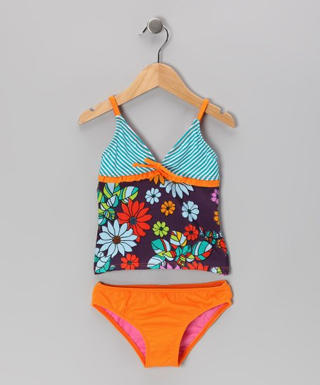 Orange & Purple Paradise Tankini - Girls
