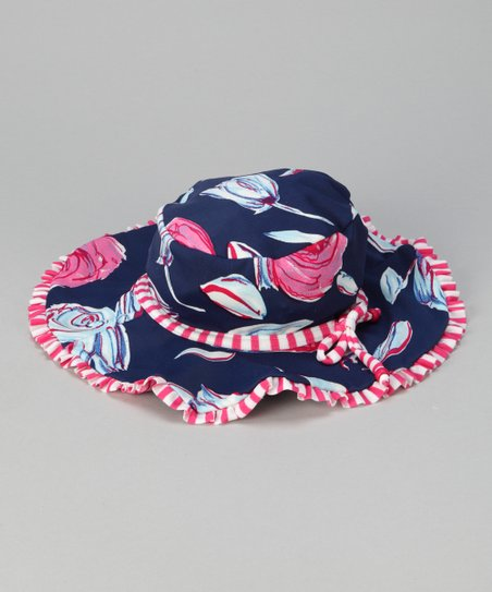 Navy & Pink Bloom Sunhat