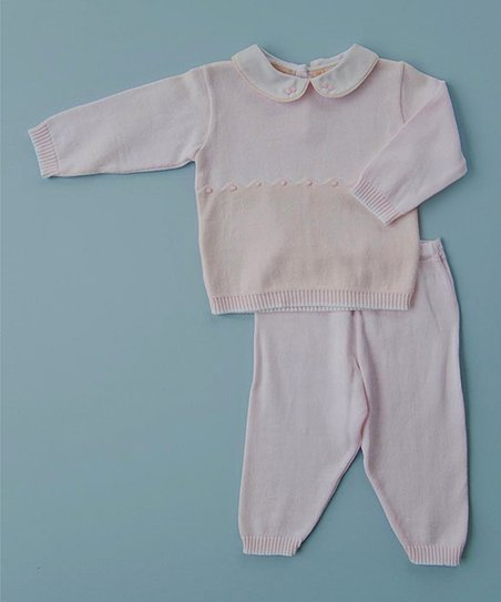 Pink Peter Pan Collar Top & Leggings - Infant