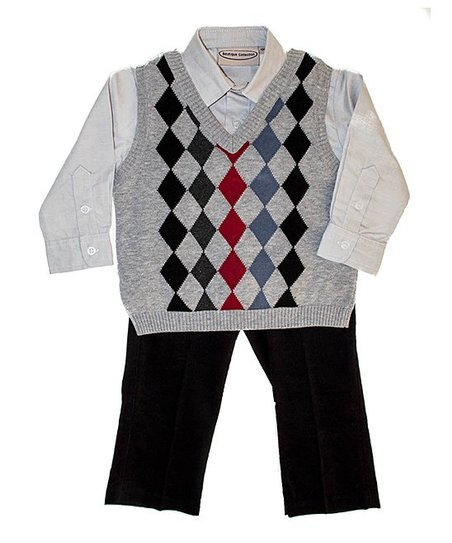 Gray Argyle Sweater Vest Set - Infant, Toddler & Boys