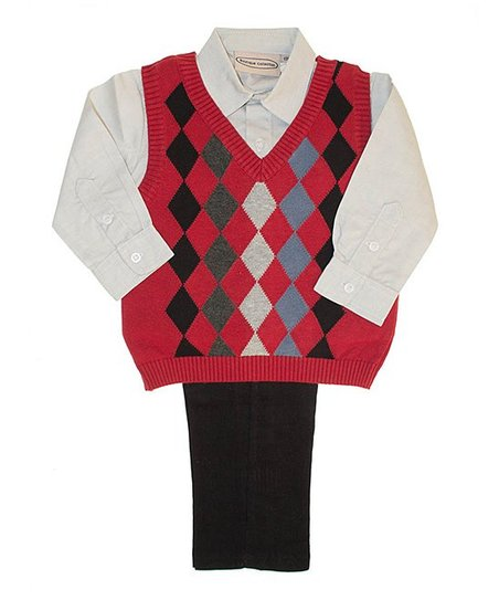 Red Argyle Sweater Vest Set - Infant, Toddler & Boys
