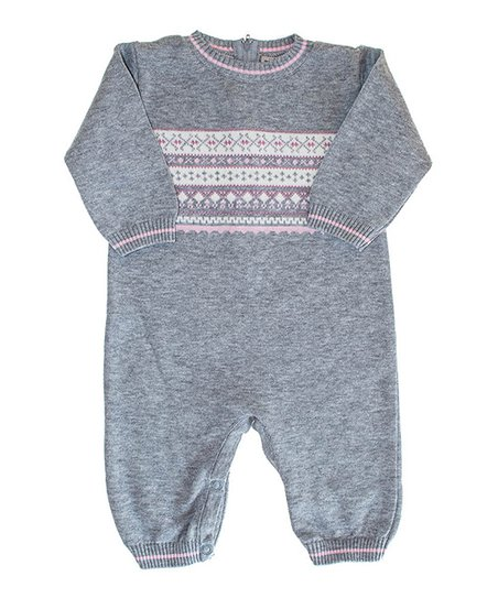 Gray & Pink Stripe Playsuit - Infant
