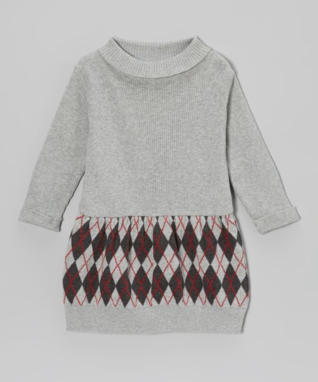 Gray Argyle Sweater Dress - Toddler & Girls