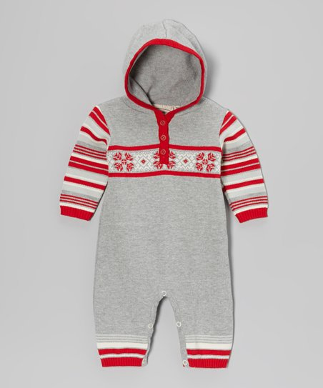 Gray & Red Snowflake Hooded Playsuit - Infant