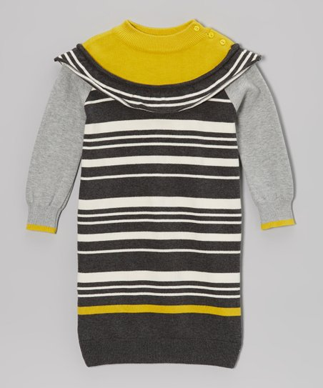 Gray & Mustard Stripe Sweater Dress - Toddler & Girls