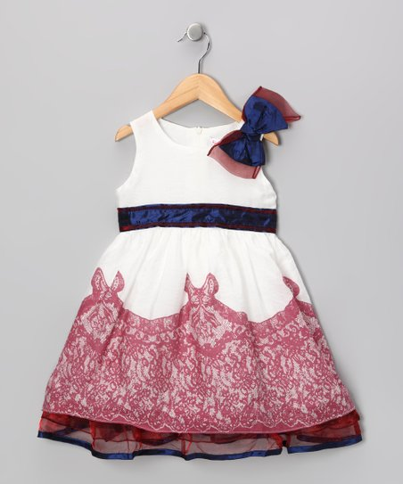 Wine & White Lace Bow Dress - Girls