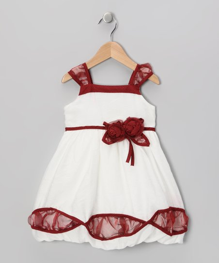 Red & White Sheer Cutaway Dress - Girls