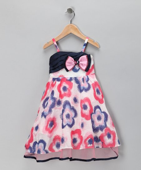 Pink & Blue Flower Bow Dress - Toddler & Girls