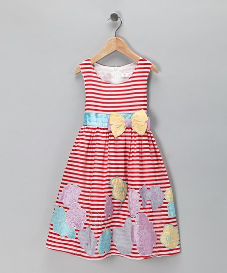 Red Stripe Flower Dress - Toddler & Girls