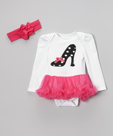 Pink High-Heel Ruffle Skirted Bodysuit & Flower Headband - Infant