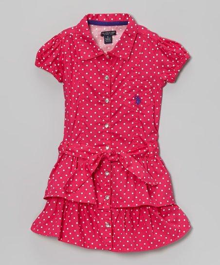 Berry Polka Dot Ruffle Sash Shirt Dress - Girls