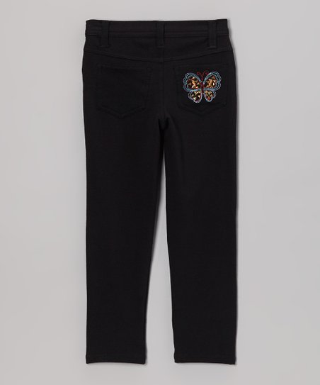 Black Rhinestone Skinny Pants - Toddler & Girls