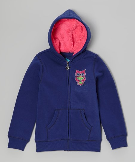 Navy Owl Sherpa Zip-Up Hoodie - Girls