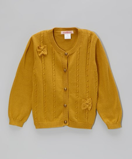 Mustard Bow Cable-Knit Cardigan - Toddler & Girls