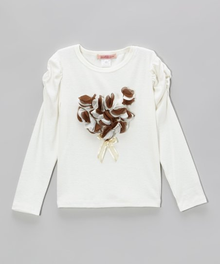 Ivory Petal Heart Ruched Tee - Toddler & Girls