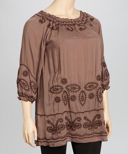 Mocha Embroidered Three-Quarter Sleeve Tunic - Plus
