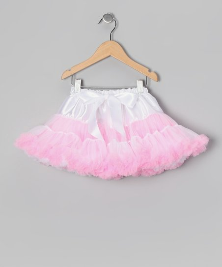 White & Light Pink Pettiskirt - Infant, Toddler & Girls