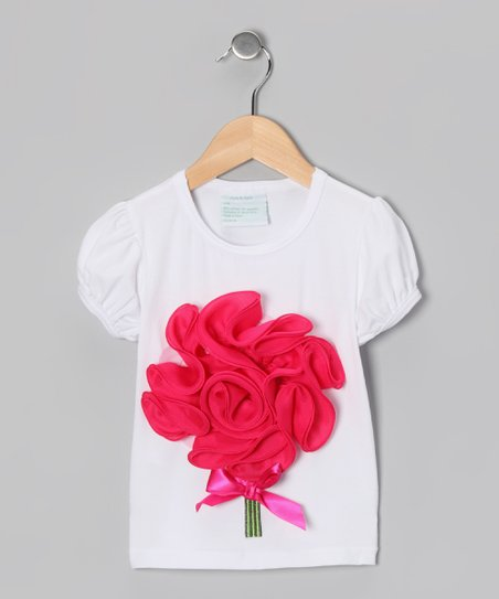 White & Hot Pink Flower Bouquet Tee - Infant, Toddler & Girls