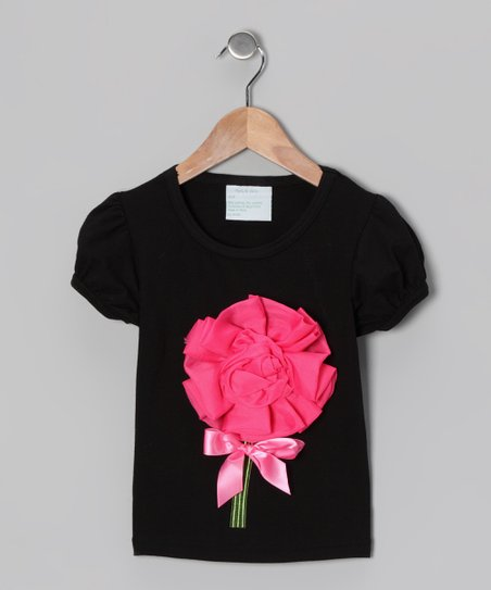 Black & Hot Pink Rosette Tee - Infant, Toddler & Girls