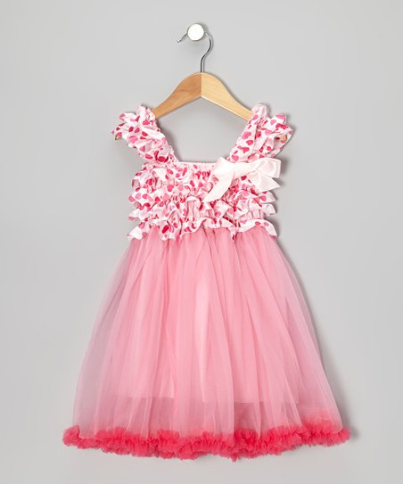 Pink Hearts Ruffle Babydoll Dress - Toddler & Girls