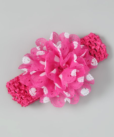 Hot Pink & White Polka Dot Eyelet Flower Headband