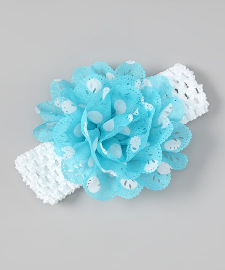 Blue & White Polka Dot Eyelet Flower Headband