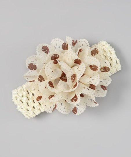 Cream & Brown Polka Dot Eyelet Flower Headband