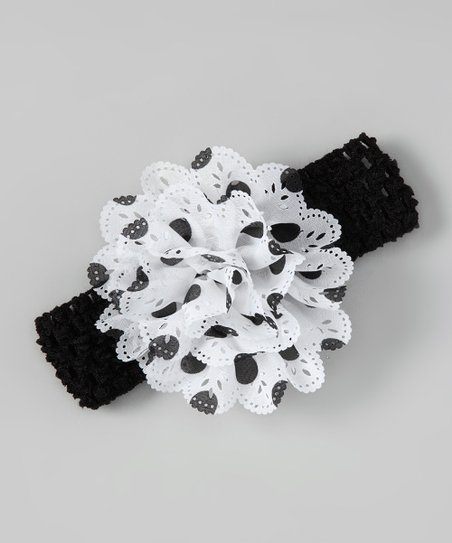 Black & White Polka Dot Eyelet Flower Headband