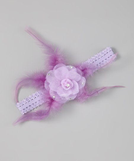 Lavender Feather Flower Headband