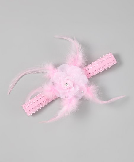 Pink Feather Flower Headband
