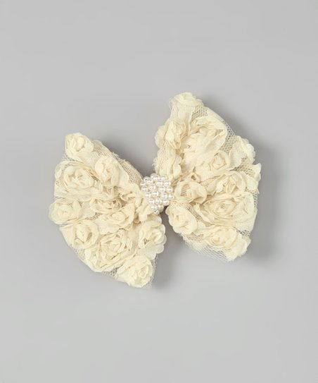 Cream Rosette Bow Clip