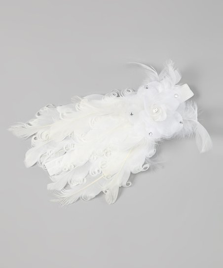 White Full Feather Flower Headband