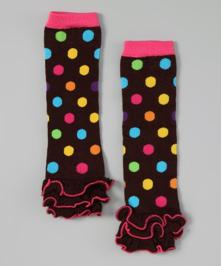 Brown & Hot Pink Polka Dot Ruffle Leg Warmers