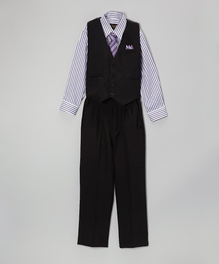 Black & Lilac Stripe Four-Piece Vest Set - Boys