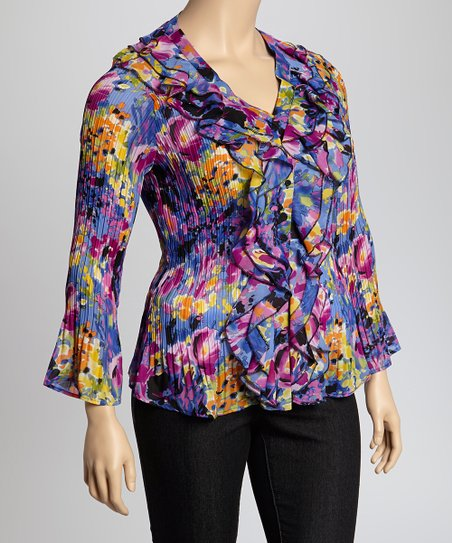 Fuchsia & Blue Cascade Crinkle Top - Plus
