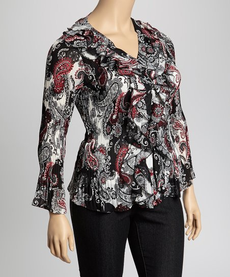 Black & Red Paisley Cascade Crinkle Top - Plus
