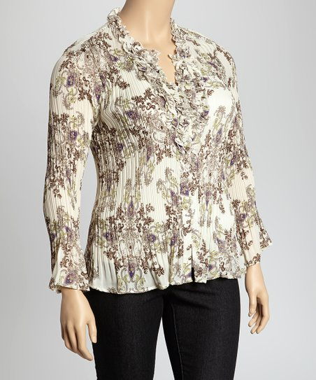 Plum & Green Paisley Floral Ruffle Crinkle Top - Plus