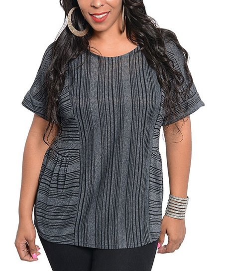 Charcoal Stripe Top - Plus