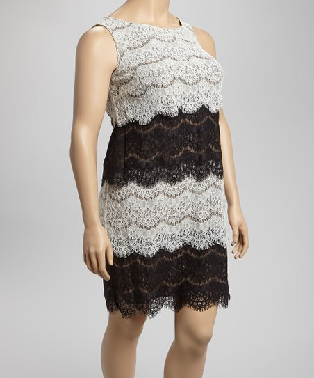 Black & Ivory Scallop Lace Dress - Plus