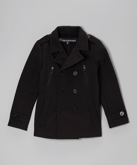 Black Button Peacoat - Toddler & Boys