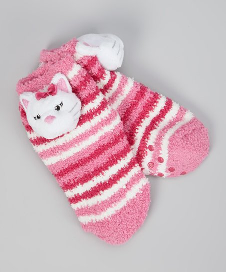Pink & White Stripe Bow Kitty Socks