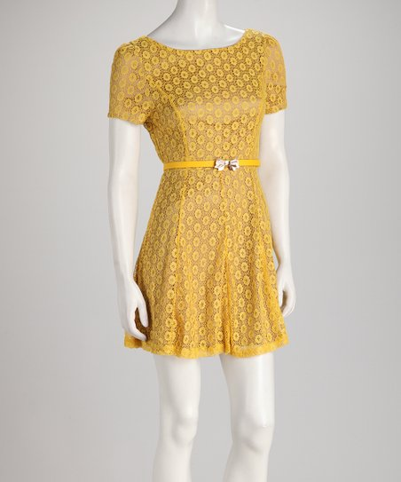 Gold Polka Dot Lace Short-Sleeve Dress